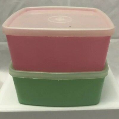 2 X Vintage Tupperware #311 Container. Great Retro Colours. Good Condition