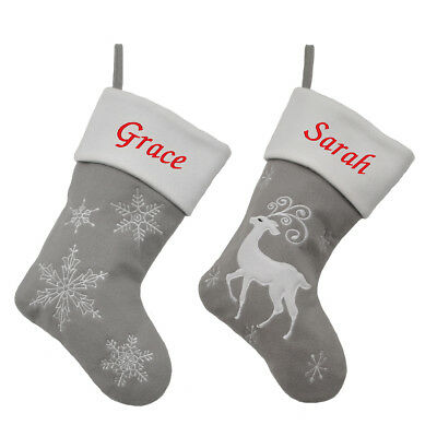 Personalised Embroidered Silver Stocking Luxury Sack Santa Deluxe Christmas