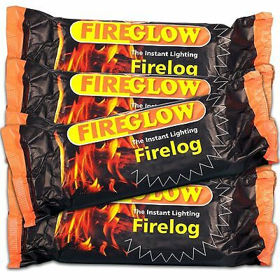 4 x Fire glow The Instant Lighting Fire log Burns up to 2 Hours  Friendly free
