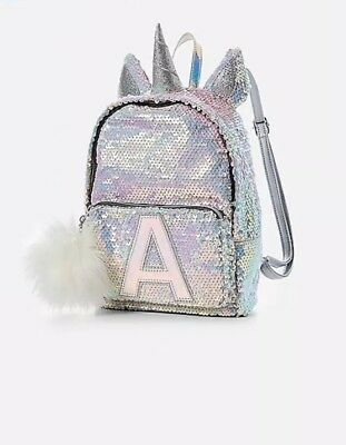 """Justice Girls Initial """"E""""Mini Backpack Unicorn Reversible Flip Sequins Silver"""