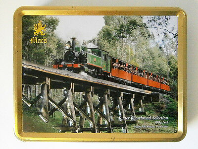 COLLECTABLE 500G MAC'S BISCUIT TIN with EMBOSSED VINTAGE STEAM TRAIN #2