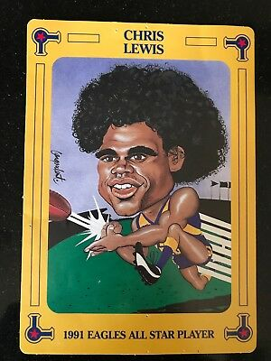"West Coast Eagles 1991 ""all Star Player"" Card - Chris Lewis."