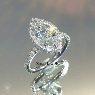 Certified 3.20Ct Marquise White Diamond Engagement Ring in Solid 14K White Gold