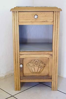 Antique French Bedside Cabinet Grey Marble Table De Nuit Painted 1930s