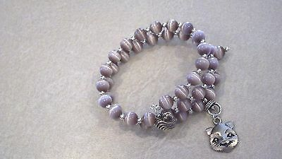 Taupe Cat's Eye Glass Bead Wrap Bracelet with Pewter Cat Head Charm LOVE MY CAT
