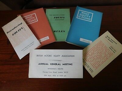 Vintage British Actors equity association booklets from the 1950s