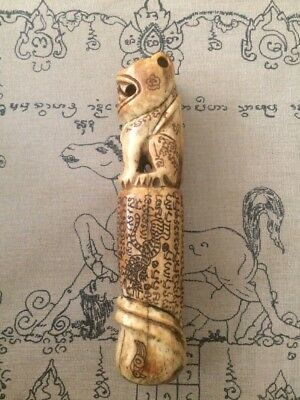 Large Antique Buffalo Bone Carved Fertility Amulet, With Tiger Carving.