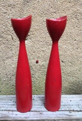 Pair VTG Red Mid Century Modern Atomic Wood Tapered Candle Holders Sticks