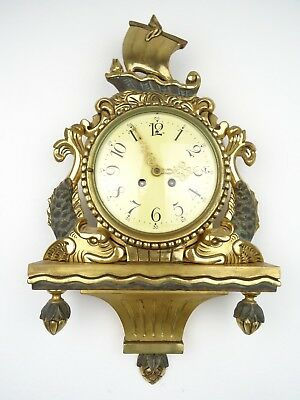 Swedish 1920 Vintage Gustavian Antique Gilt Wall Clock (Westerstrand Mora era)