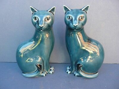 Vintage Pair Of Poole Pottery Cats