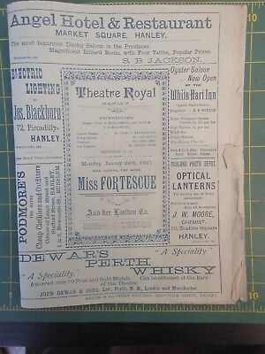 Theatre Royal Hanley programme Jan 24th 1897 Miss Fortescue & her London Co