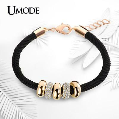 Bracelet Women Rope Charm With Gold Circle Pendant Austrian Rhinestone Accessory