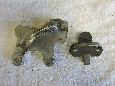Group of 2 Antique Metal Cookie Cutters, Horse and Clover, Old, Primitive, (VC)