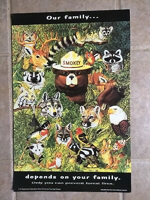 "Vintage Smokey the Bear Poster on card stock,""Our Family Depends On Your Family"""