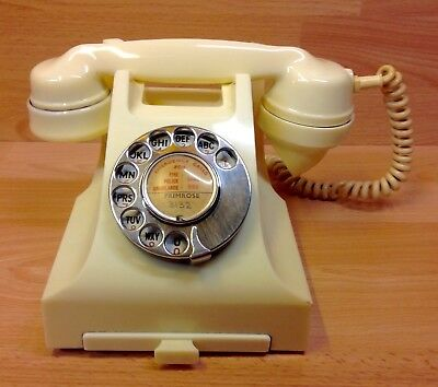 Bakelite Ivory Turn-Dial Telephone With Drawer 1960's.
