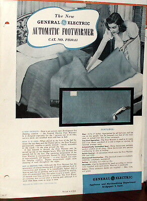 Vintage 1947 GENERAL ELECTRIC AUTOMATIC Electric Blanket Dealer Accessory Page