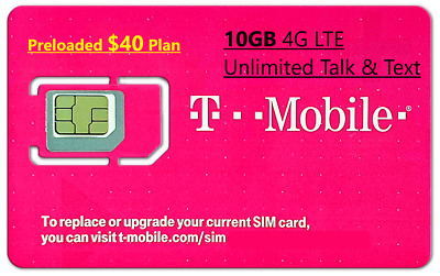 First Month $40 T-Mobile 10GB LTE Plan Preloaded Prepaid SIM Card
