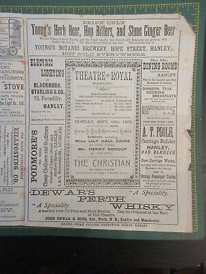 Theatre Royal Hanley programme Sept 24th 1900 George G Day & Wentworth Groke's