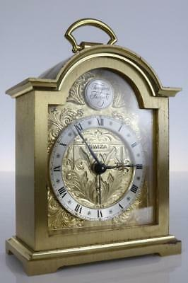 SMALL CARRIAGE or BRACKET CLOCK by SWIZA 8 day with alarm GOOD WORKING ORDER