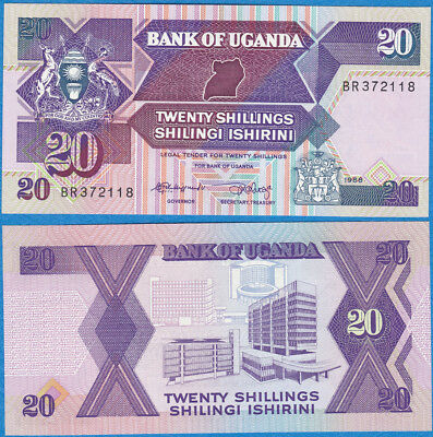 Uganda 1988 20 Shillings UNC P-29b  - US-Seller