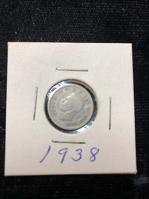 1938 CANADA 10 CENTS SILVER  AU    Canadian     Foreign Coin    10c