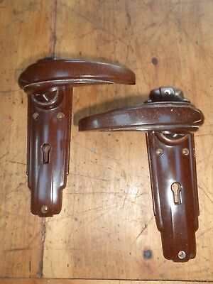 Vintage Art Deco Bakelite Lever Door Handles one pair