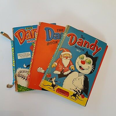 The Dandy Book (Annual) 1972 - 1974 Bundle of 3 Vintage Hardback Books - WORN