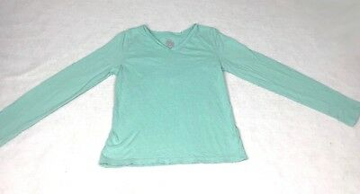 Faded Glory Teal Long Sleeve V-Neck Shirt - Size L/g (12-14)