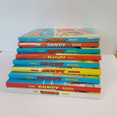The Dandy Book (Annual) 1981 - 1989 Bundle of 9 Hardback Books Unclipped Vintage