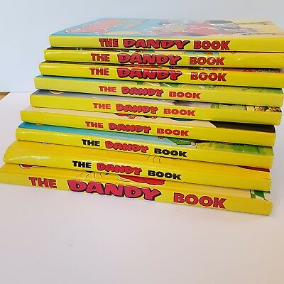 The Dandy Book (Annual) 1990 - 1998 Bundle of 9 Hardback Books Unclipped Vintage