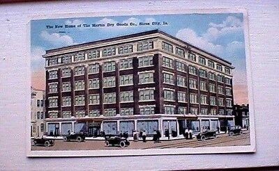 1921 Sioux City  Iowa Post Card New Home Of The Martin Dry Goods Co. Cool Cars