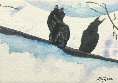Cat aceo snow  winter ORIGINAL miniature watercolor painting art OOAK shadow