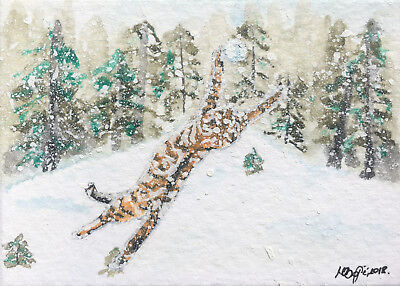 Cat aceo snow  winter ORIGINAL miniature watercolor painting art christmas OOAK