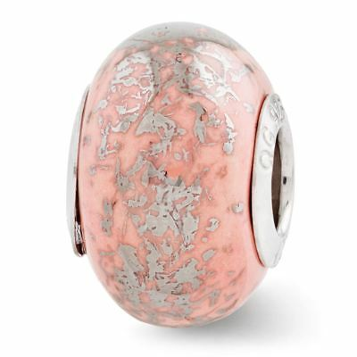 Sterling Silver Reflection Pink with Platinum Foil Ceramic Bead MSRP $82
