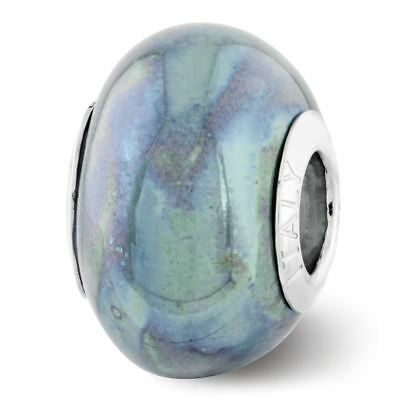 Sterling Silver Reflection Blue and Grey Ceramic Bead MSRP $82