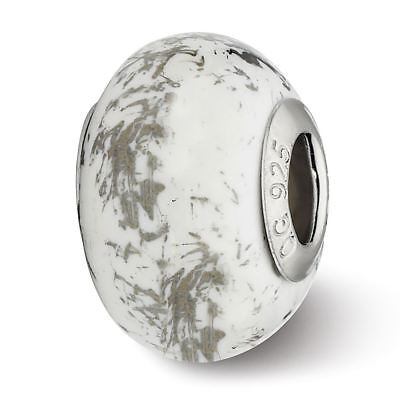 Sterling Silver Reflection White with Platinum Foil Ceramic Bead MSRP $82
