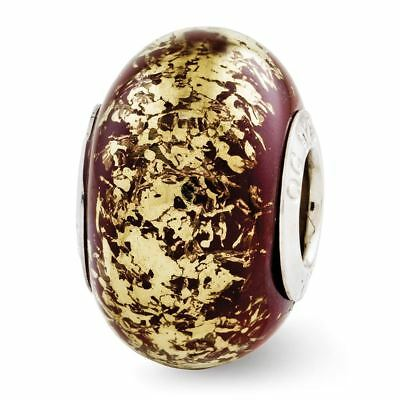 Sterling Silver Reflection Brown with Gold Foil Ceramic Bead MSRP $82