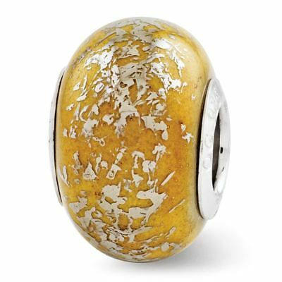 Sterling Silver Reflection Yellow with Platinum Foil Ceramic Bead MSRP $82