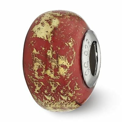 Sterling Silver Reflection Red with Gold Foil Ceramic Bead MSRP $82