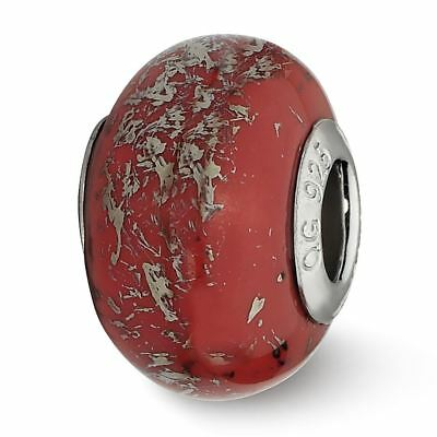 Sterling Silver Reflection Red with Platinum Foil Ceramic Bead MSRP $82