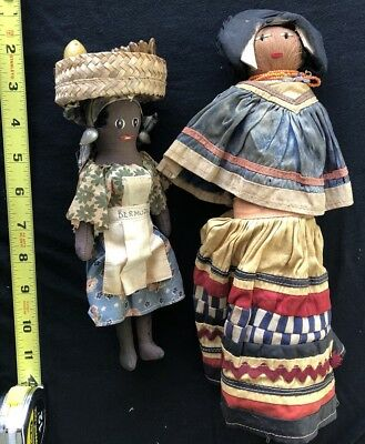 Hand Made Primitive Black Cloth Rag Doll Antique Hair Stitched Rare Indian Lot