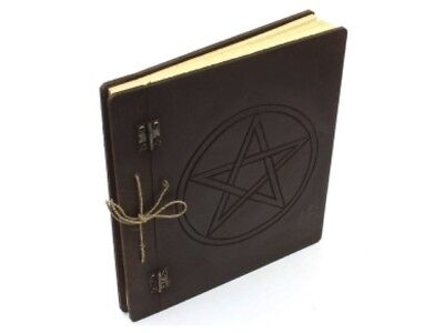 LARGE Etched Blank Spell Book Pentacle Design Rustic Twine Bound metal Hinges