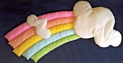 Vintage 1980's Pastel Rainbow and Puffy Clouds Baby/Toddler's Room Wall Hanging