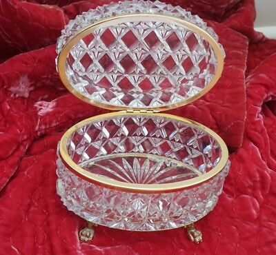 Stunning Vintage Crystal Casket Box / Jewelry Box With Paw Feet - Nr!!