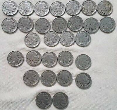 United States Coin Lot Of 29 Buffalo Nickels 1910s-1930s
