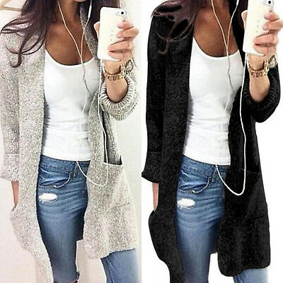 Womens Long Sleeve Pocket Cardigans Sweater Chunky Knitted Coat Outwear Jumper