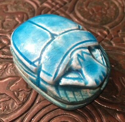 Egyptian Faience Pottery Blue Scarab Paperweight Vintage Antique 2""