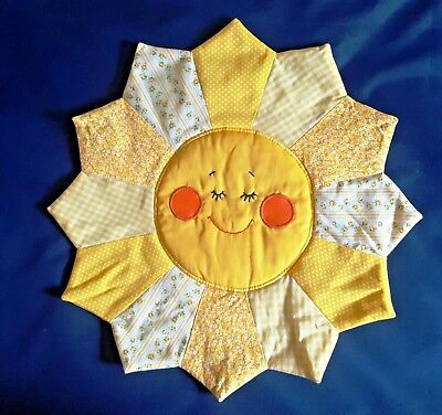 Vintage 1980s Baby/Toddler's Room Happy Sleeping Sun Quilted Cotton Wall Hanging