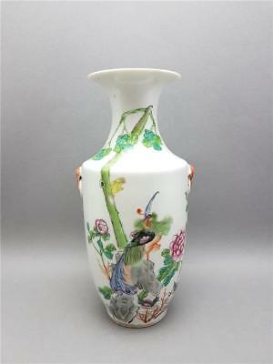 Antique Chinese Late Qing/early Republic Qianjiang Famille Rose Vase + Script