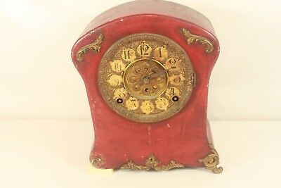 F.KROEBER, antique metal case mantel clock.(ref B 202)
